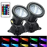 AomeTech Upgraded Pond Light, Waterproof Underwater Submersible Spotlights with Remote, 36 LED Multi-Color Adjustable Dimmable Lights for Aquarium, Fish Tank, Swimming Pool, Garden (2pack)