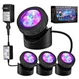 Pond Lights Submersible Lights [Set of 4] with Timer IP68 Underwater Lights Aquarium Spot Light 48LED Landscape Lamp for Swimming Pool Fish Tank Fountain Pond Decoration